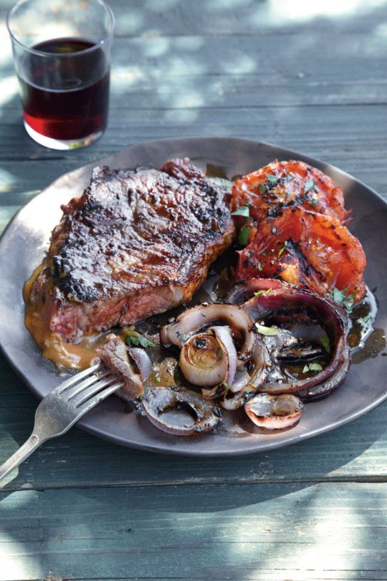New York Strip Steaks with Bourbon Steak Sauce by williams-sonoma: Here's an elegant but easy grilled main course. Serve it with grilled veggies or creamed spinach for a dinner party! #Steak #Grill