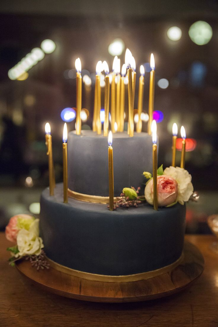 Elegant birthday cakes with candles