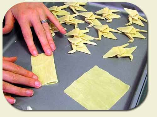 fried wonton origami