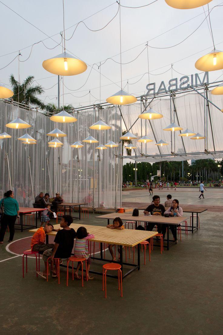 Built by Csutoras & Liando in Jakarta, Indonesia with date 2013. Images by Laszlo Csutoras. Kineforum Misbar was a temporary open-airw cinema built as part of the 2013 Jakarta Biennale, an international contem...