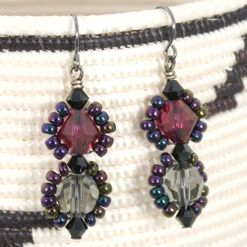 Seed Bead Framed Crystal Earrings (VIDEO)