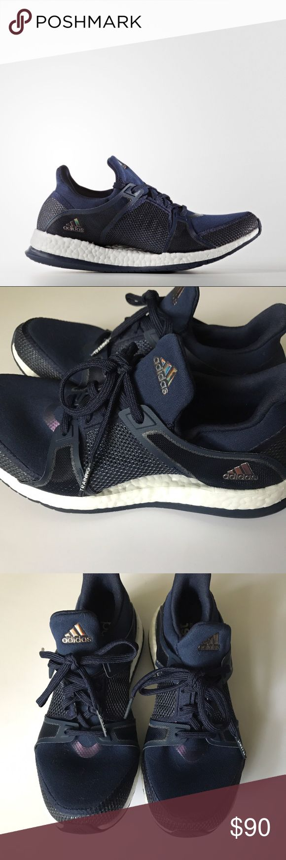 {Adidas} PureBoost X, Navy Such an elusive shoe! I can't find this particular colorway for sale online anywhere! Adidas Pure Boost X TR in navy. Engineered for a woman's foot. Size 7. Brand new in box. Adidas Shoes