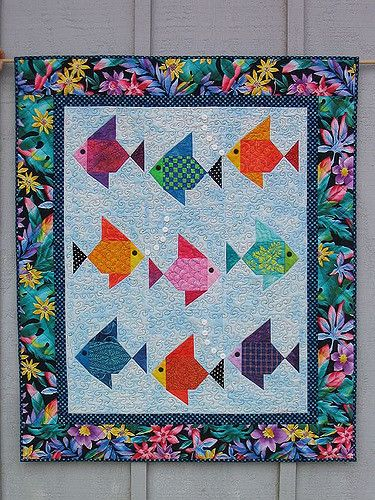 "A nine fish version of my original ""Swimmies"" fish quilt pattern. Quilt copyright Lisa Boyer 2008"