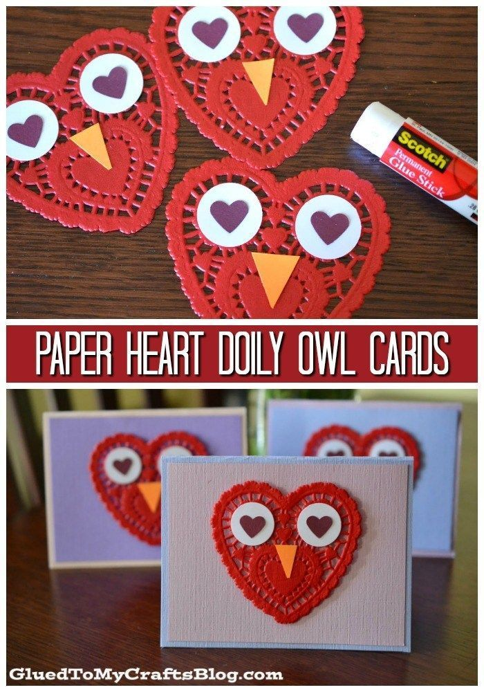 Easy Paper Heart Doily Owl Cards For Valentine S Day Valentine