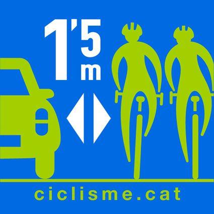 Federacion catalana de ciclismo. FCC. Pon un metro y medio a la vida. Por una ley justa. Ciclismo seguro.
