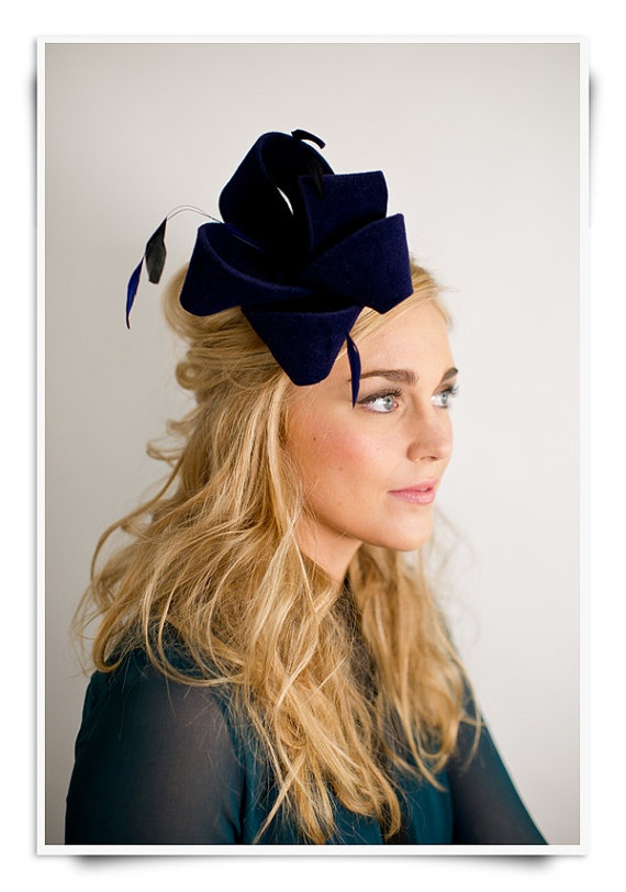 Fall Hat Style 7 Cheery Bow and Feather Fascinator by Preston and Olivia on Etsy   For a bride with some edge!!!