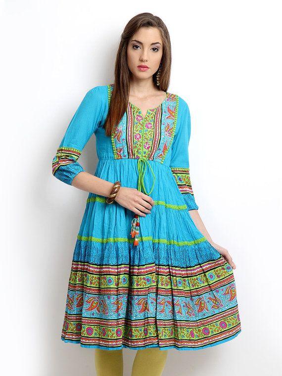 "Women Blue Printed Anarkali ""Kurta"""
