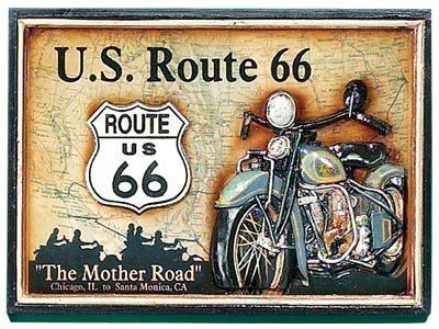 Hand-Carved Route 66 Picture by RAM Gameroom Products. $68.00. Weight: 9 lbs. Dimensions: 21 in. W x 1 in. D x 15.5 in. H. R590 Features: -Motorcycle picture.-Wood border.-Rectangle shape.-3 Dimensional.-Painted wall art.-Hard-carved wall art.-Perfect for game room decor.. Save 30%!