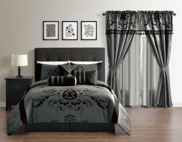 Violeta 7-Piece Lightweight Comforter Set, Queen, Grey