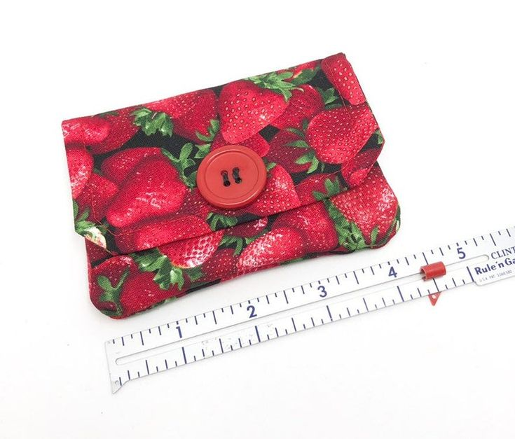 Strawberry Fabric Card Wallet, Credit Card Holder, Pocket Wallet, Gift Card Holder