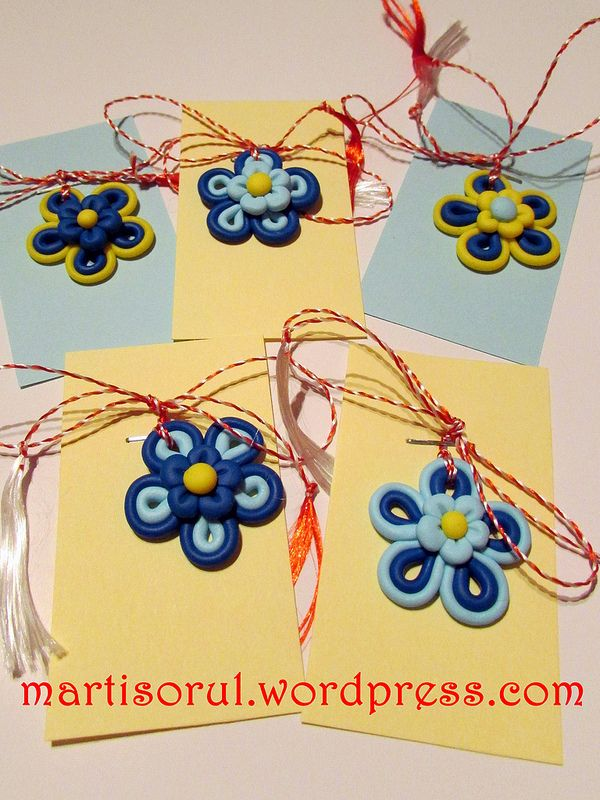 martisoare flori albastru/galben, 2015