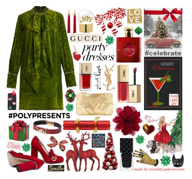 """""""Collage Tutorial & Stream of Consciousness  Christmas Party Dresses!"""" by curekitty ❤ liked on Polyvore featuring Gucci, Yves Saint Laurent, Lord & Taylor, Delpozo, PBteen, Grandin Road, Edie Parker and Constance Kay"""