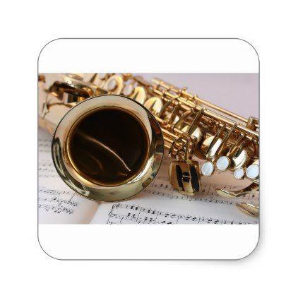 Saxophone Music Gold Gloss Notenblatt Keys Square Sticker - gold gifts golden customize diy