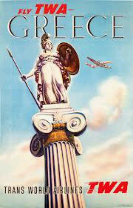 Fly TWA - Greece Poster - Trans World Airlines