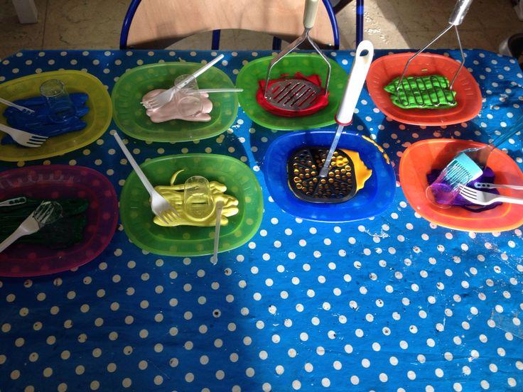 Stempelen met keukenmaterialen