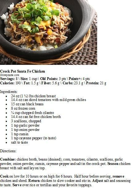 Crock Pot Santa Fe Chicken Skinnytaste Com Skinny Taste Recipes Skinnytaste Santa Fe Chicken