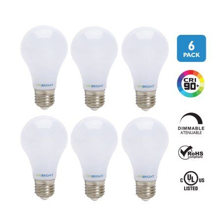 Viribright 60 Watt Replacement LED Light Bulbs (6 Pack), 2700K Soft White, Dimmable, 800+ Lumens, 90+ CRI