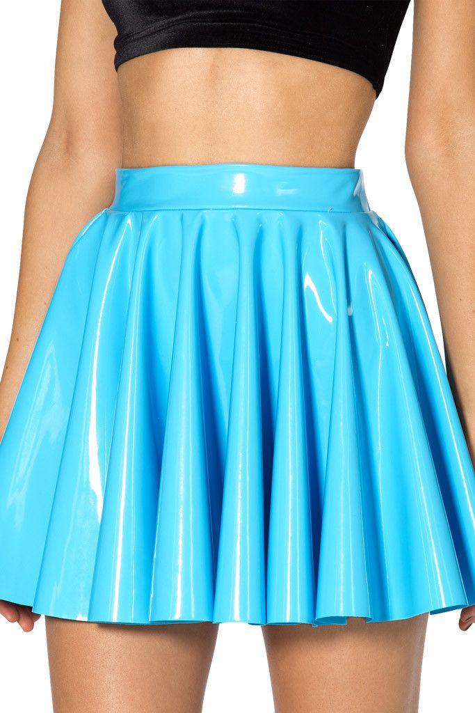 Black Milk Clothing PVC Sky Blue Cheerleader Skirt