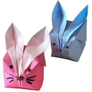 Lapin boule origami - origami Tête à modeler | Origami, Lapin origami, Origami enfant