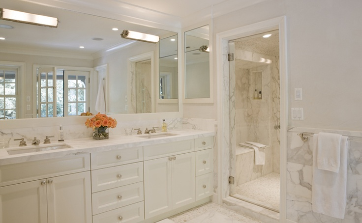 Washington dc house renovation master bath white marble steam shower franck lohsen Bathroom decor tiles edgewater wa