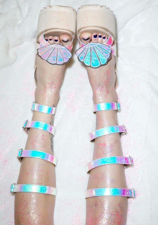 Holographic mermaid shell platform shoes