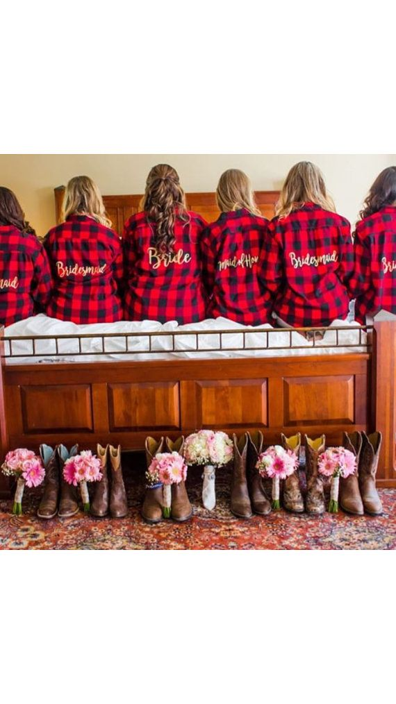 Bridal Party Flannel Shirt Set - Bride/Wedding/Bridal party