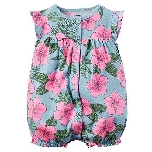 Carters Baby Girls 1-piece Print Snap-Up Cotton Romper ... (9 Months, Blue Hibiscus)