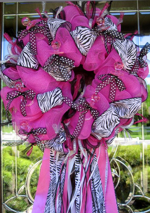 Deco Mesh HOT PINK and ZEBRA Baby Girl Wreath by decoglitz on Etsy