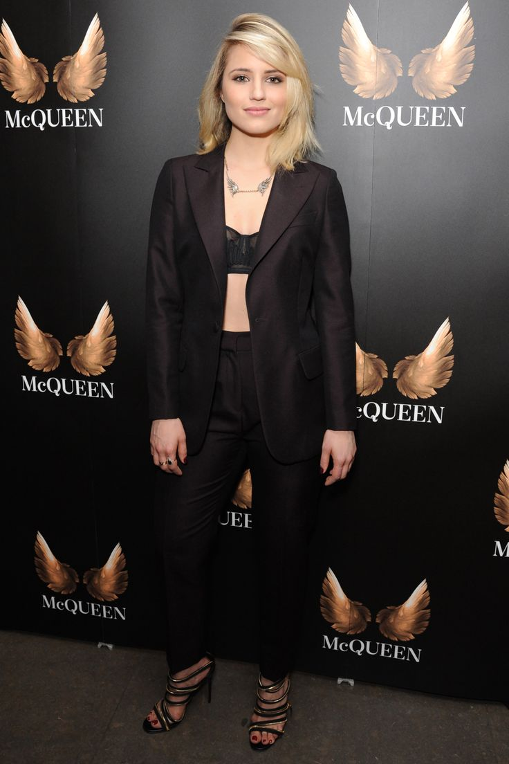 Dianna Agron at the 'McQueen' press night in a black tuxedo and 'McQueen' inspired embellished necklace | Harper's Bazaar