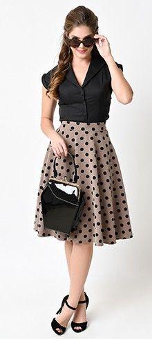 Retro Tan & Black Dot High Waisted Thrills Circle Skirt