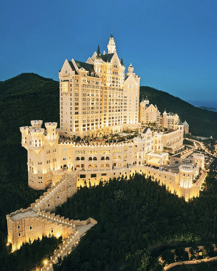 The Castle, Dalian, China Yes, a Bavarian fairy tale-like castle atop a mountain in China actually exists. Aptly titled The Castle, it's one of the newest additions to Dalian's luxury-hotel scene, and an extra place for the über-wealthy to add to their bucket lists.