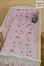 Rózsaszín, cicás 3 részes babaágynemű szett (301)