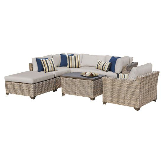 $1400 TK Classics Monterey Wicker 7 Piece Patio Conversation Set with Coffee Table and 2 Sets of Cushion Covers