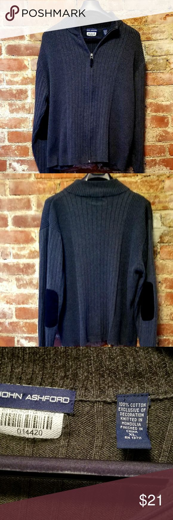 John Ashford grey zip up sweater. Dark grey  zip up sweater with padded elbows. 100% cotton. Gently used for small local theater. John Ashford Sweaters Zip Up