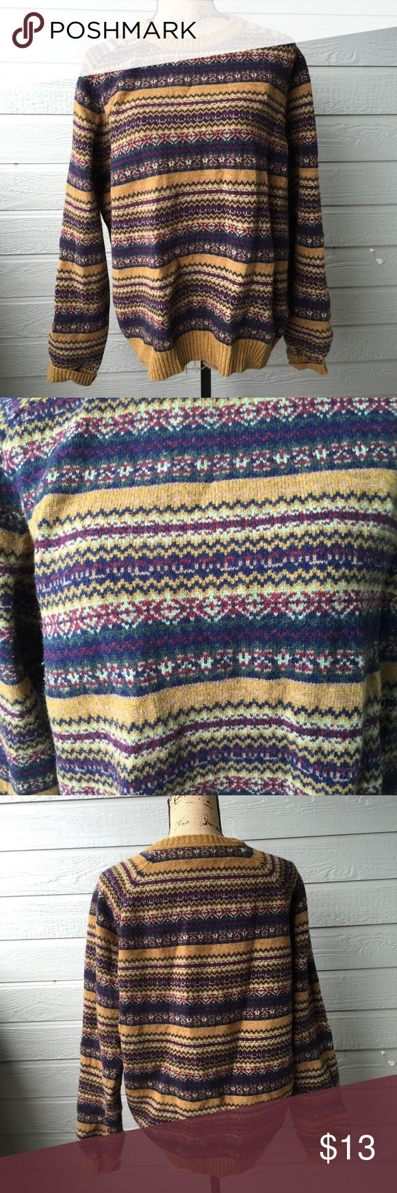 Striped Sweater Good condition, heavy and warm. Probably a men's sweater but would look adorable as an oversized women's sweater. Especially with thigh length boots and a skirt or skinny jeans. 100% lammwolle. Lands' End Sweaters Crew & Scoop Necks