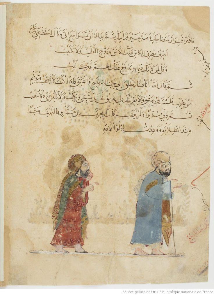 Folio 130 Verso: maqama 41. Abu Zayd leaving al-Harith