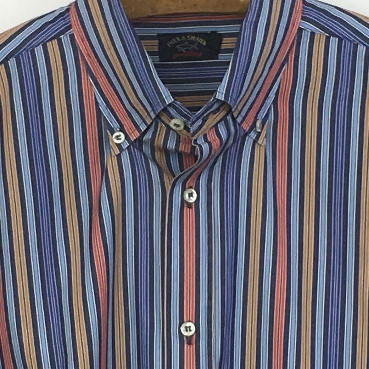 Mens PAUL & SHARK Yachting Striped Cotton Italian Shirt XLT TALL Multi-Color #PaulShark #ButtonFront