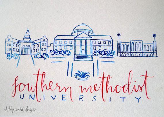 Southern Methodist University SMU - Watercolor Campus Painting - Original hand painted - Decor, Graduation, Gift