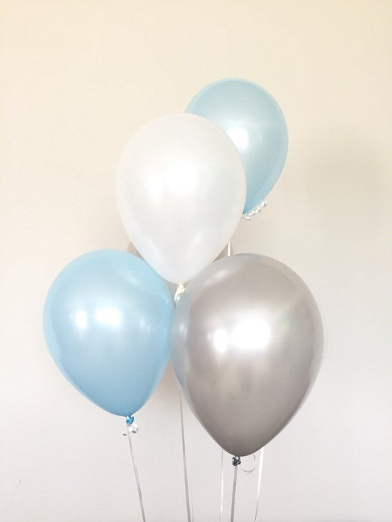 Baby Boy Shower Blue and Gray Party Baby Shower Balloon Blue and Gray Its a Boy Pastel Blue Fog Slate Blue Balloons