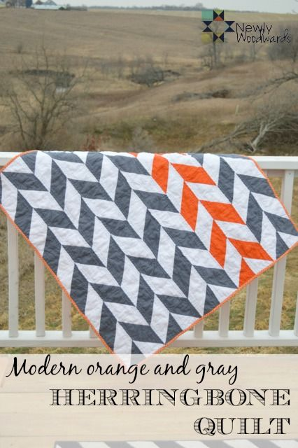 Make your own orange and gray herringbone quilt.