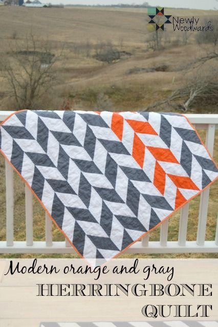 Make your own orange and gray herringbone quilt.
