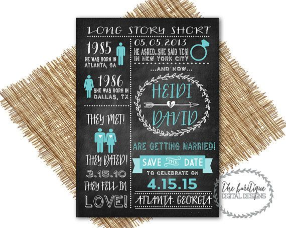 Our Love Story SAVE THE DATE Chalkboard {Long Story Short, Heres Our Story,Relationship Timeline}-Unique Save The Date-Digital Printable 5x7