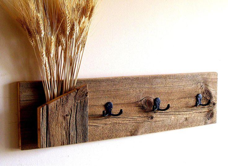 Rustic / Reclaimed / Barn Wood Wall Hung Coat Rack / Hat Rack / Key Rack / Towel Rack. $55.00, via Etsy.