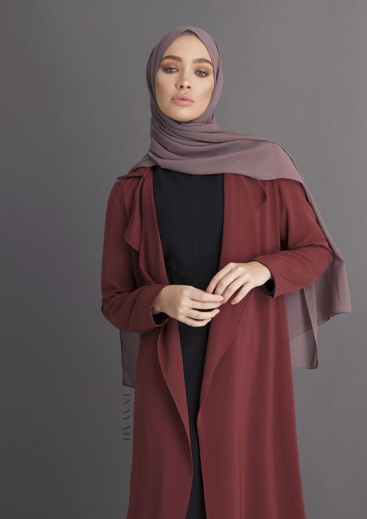 INAYAH - Rust Waterfall Coat - Modest Fashion