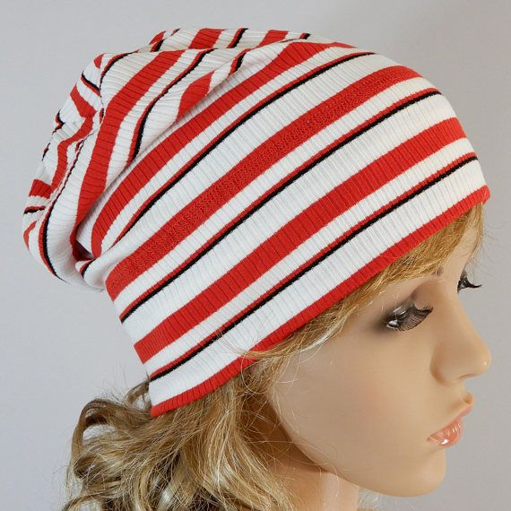 Summer slouchy hat Lightweight beanie Slouchy beanie unisex adult Striped beanie Stretchy jersey beanie womens Headwear stretchy from S-L