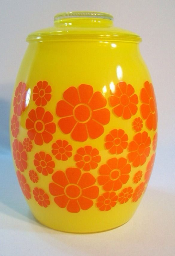 Vintage Bartlett Collins Floral Cookie Jar - flower power cookie jar