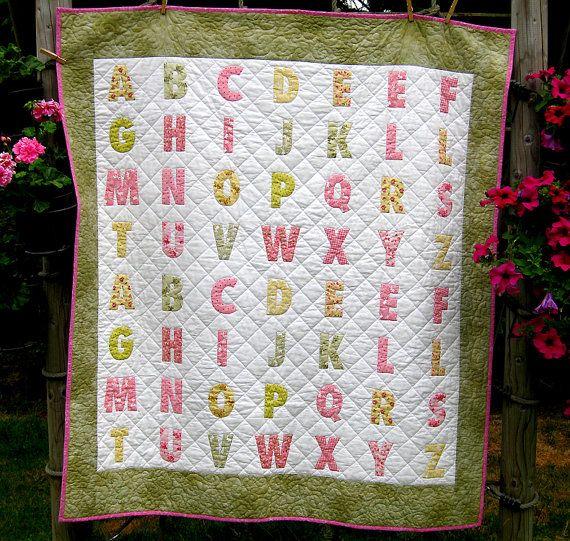 Alfabet quilt voor een meisje picknick deken door kleinedromen