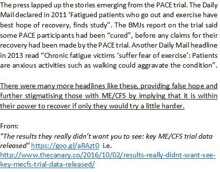 """From: """"The results they really didn't want you to see: key ME/CFS trial data released"""" by an independent journalist, Conrad Bower  http://www.thecanary.co/2016/10/02/results-really-didnt-want-see-key-mecfs-trial-data-released/  #PACEtrial #MEcfs #PwME"""