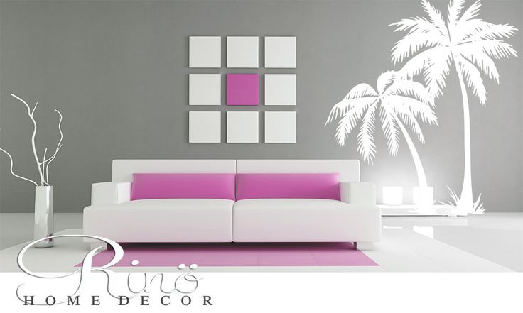 Palmier  / Palm tree Beach Giant Vinyl Wall Decal Quote & Phrase Appliqués muraux autocollant mural sticker décoration intérieur moderne by RINOhomedecor on Etsy