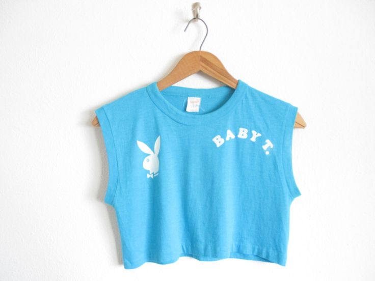 Vtg. PLAYBOY PLAYMATE BABY T. 80s Felt Letter Crop Top T-Shirt / Size Small by SpectruumVintage on Etsy https://www.etsy.com/listing/507852157/vtg-playboy-playmate-baby-t-80s-felt